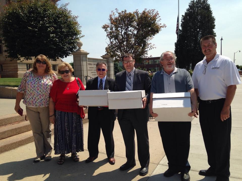 Proud signature gatherers turn in petitions on June 16, photos courtesy of Pueblo for Positive Impact